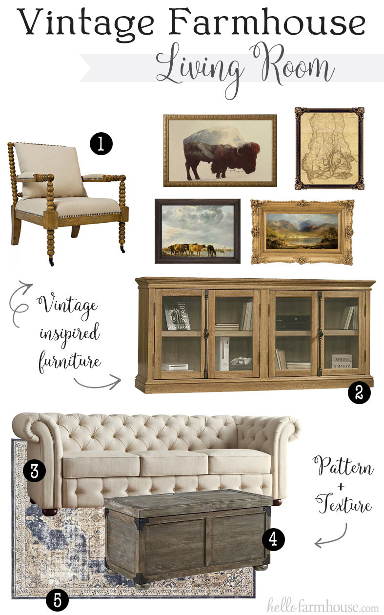 vintage farmhouse living room 1