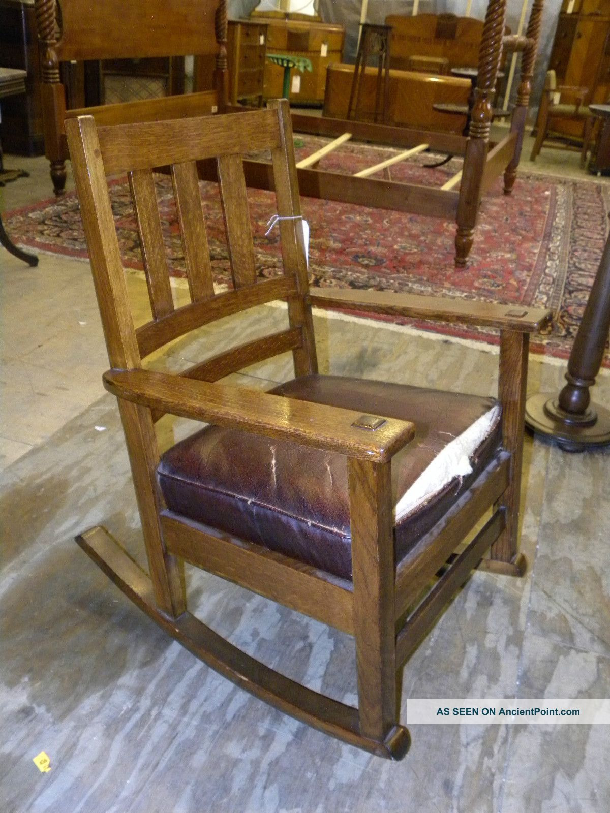 antique mission oak arts and crafts style rocking chair rocker