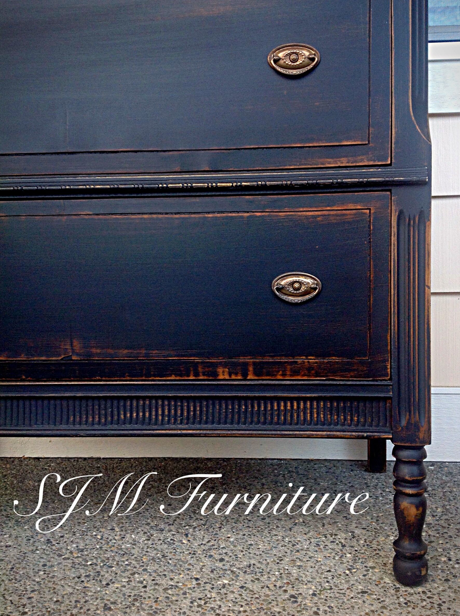 Antiquing Furniture with Chalk Paint Beautiful Antique Dresser Painted In Black Chalk Paint Distressed and