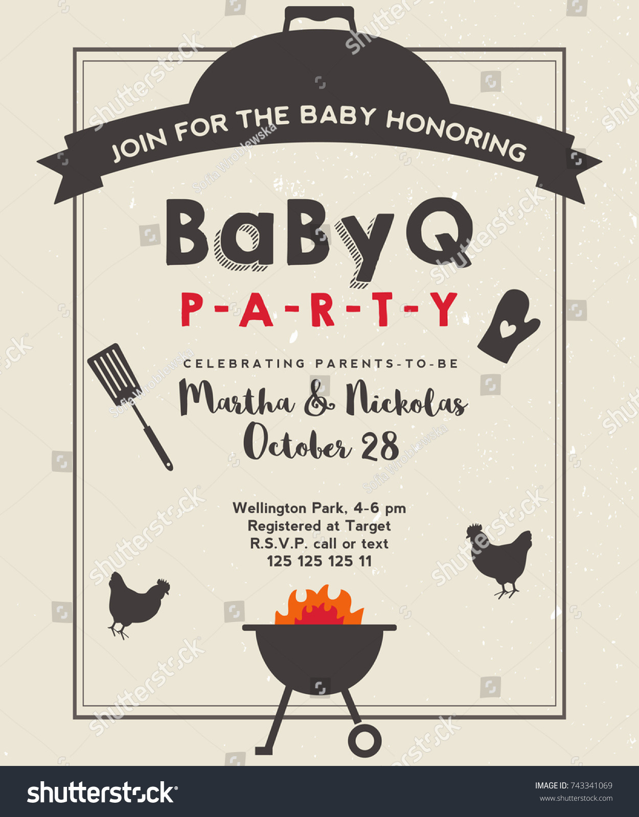 stock vector baby shower barbeque party with vintage background bbq invite template grunge paper
