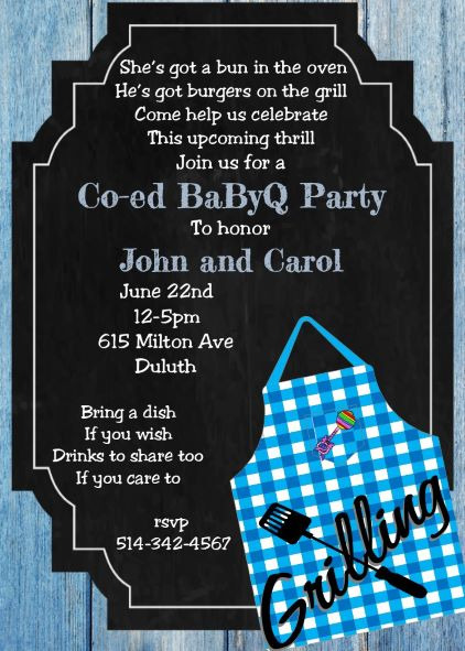 Greeting Cards and Invitations o Q Cookout BabyQ BBQ