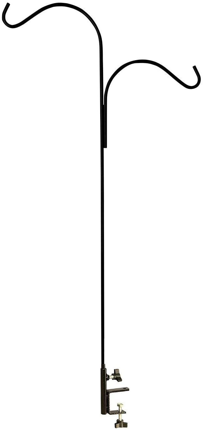 Bird Feeder Hangers for Decks New ashman Double Span Black Deck Hook Made Of Premium Metal Super Strong with 46 Inch Length and Ideal for Bird Feeders Plant Hangers Coconut Shell