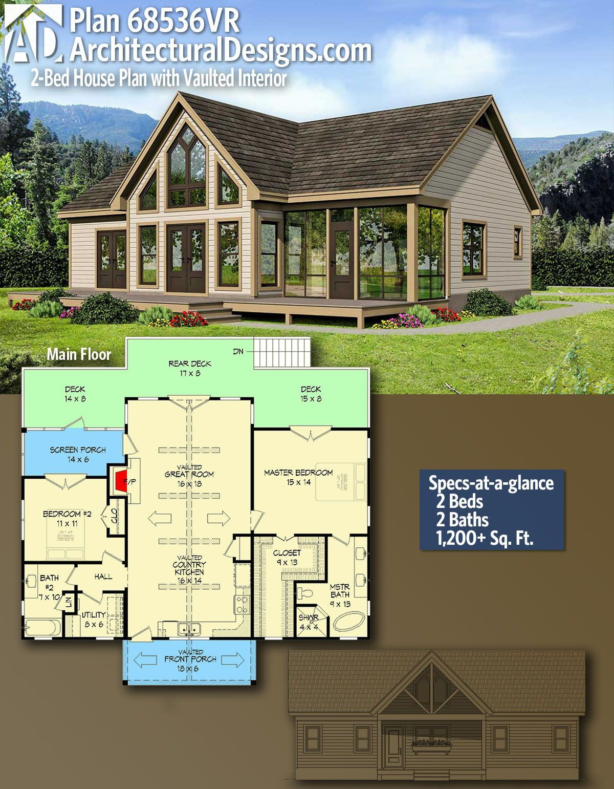 Cost to Build 1200 Sq Ft Cabin Best Of Plan Vr 2 Bed House Plan with Vaulted Interior In 2020