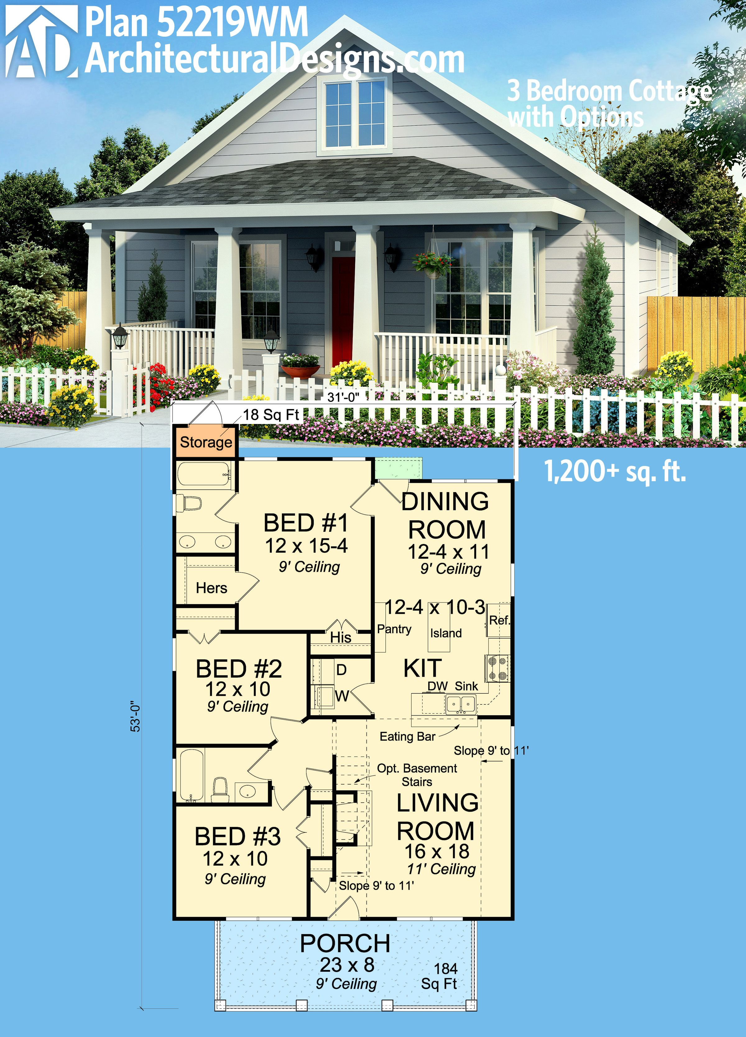 Cost to Build 1200 Sq Ft Home Unique Plan Wm 3 Bedroom Cottage with Options