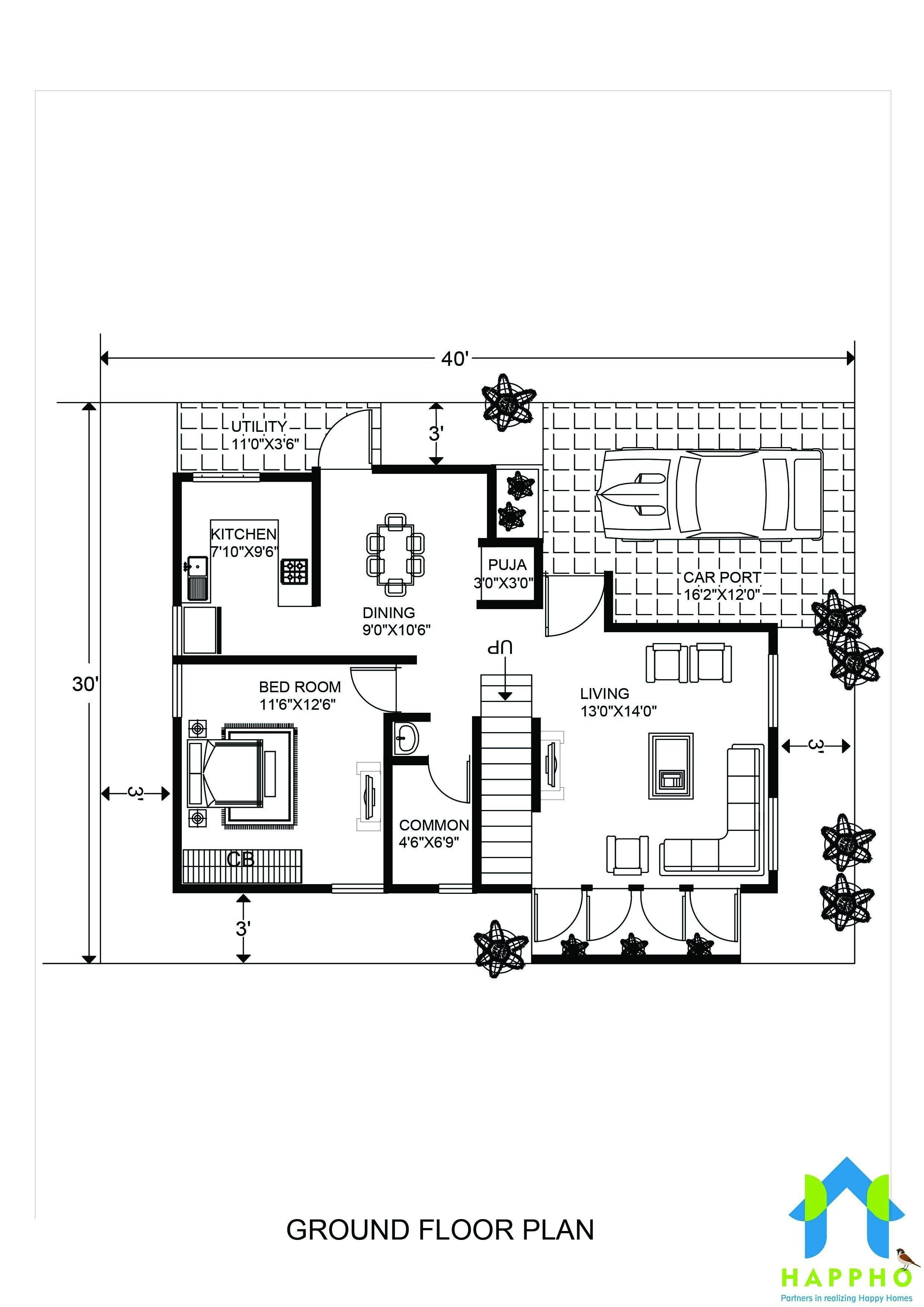 Cost to Build A 800 Sq Ft House New 1 Bhk Floor Plan for 20 X 40 Feet Plot 800 Square Feet
