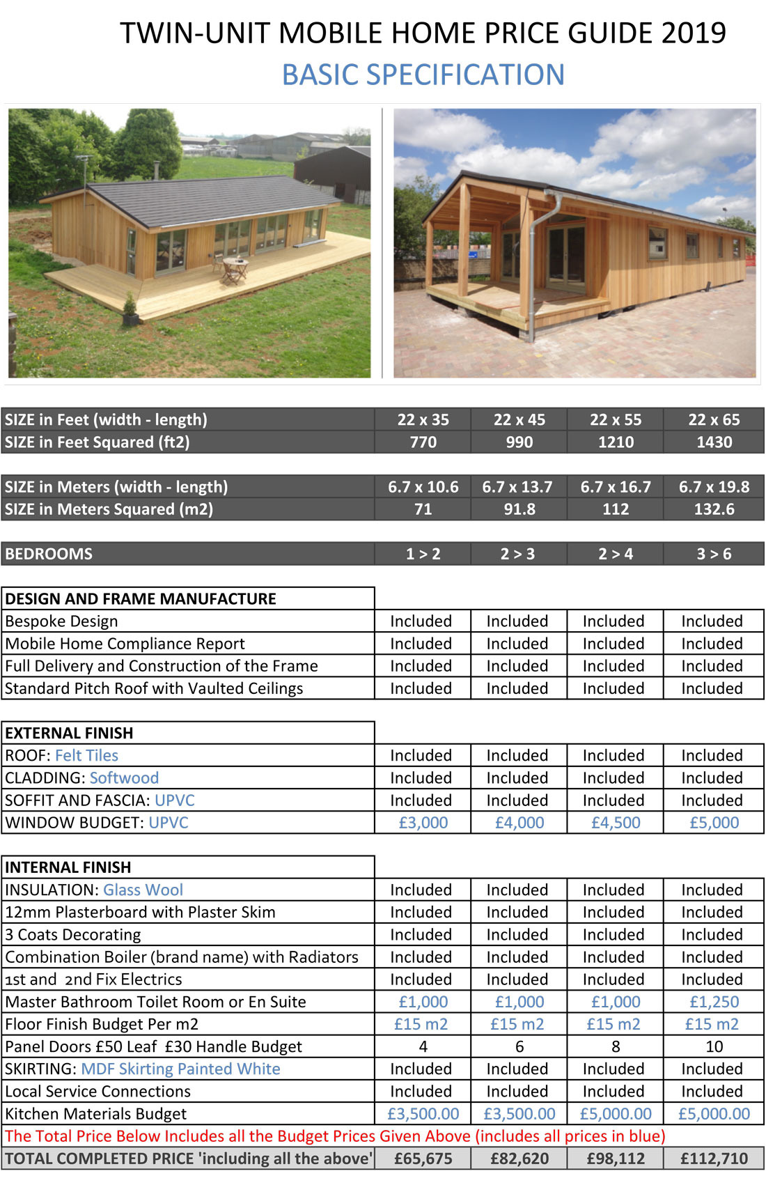 Mobile Home Prices SelfBuild Low