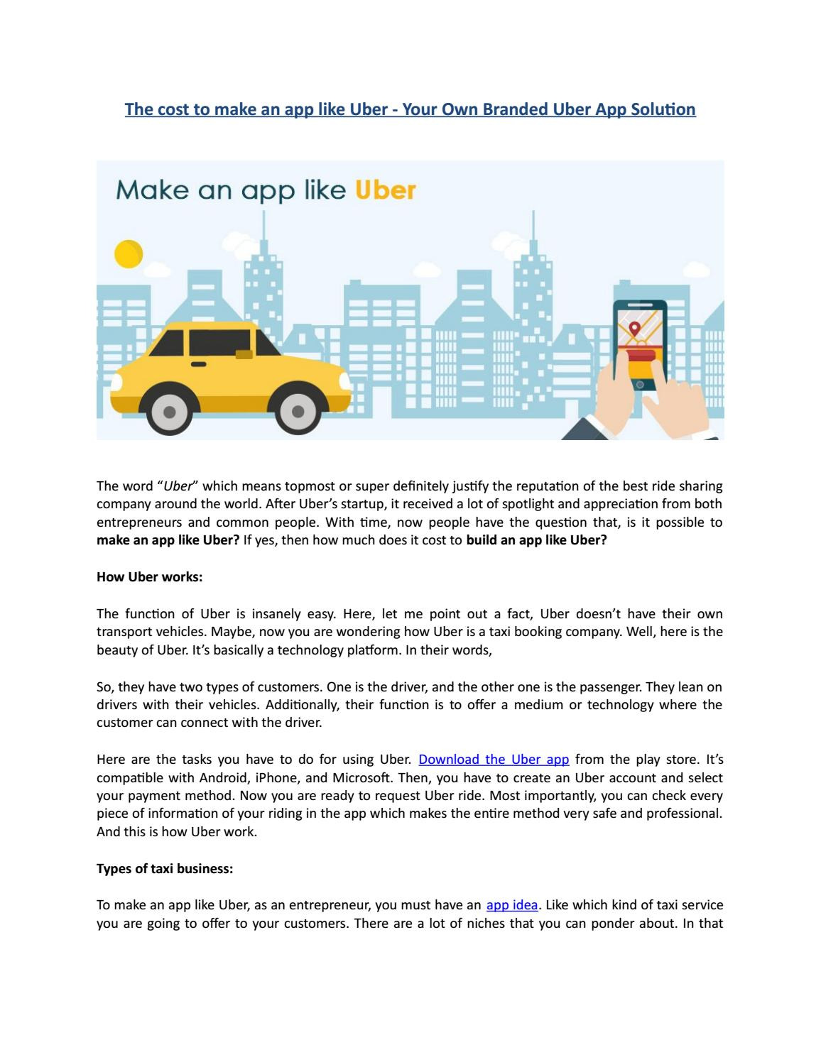 the cost to make an app like uber d