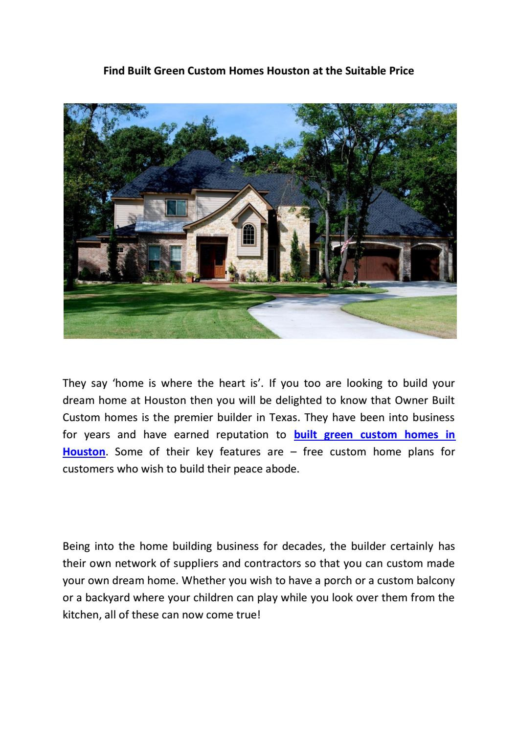 Cost to Build On Your Own Lot Fresh Find Built Green Custom Homes Houston at the Suitable Price