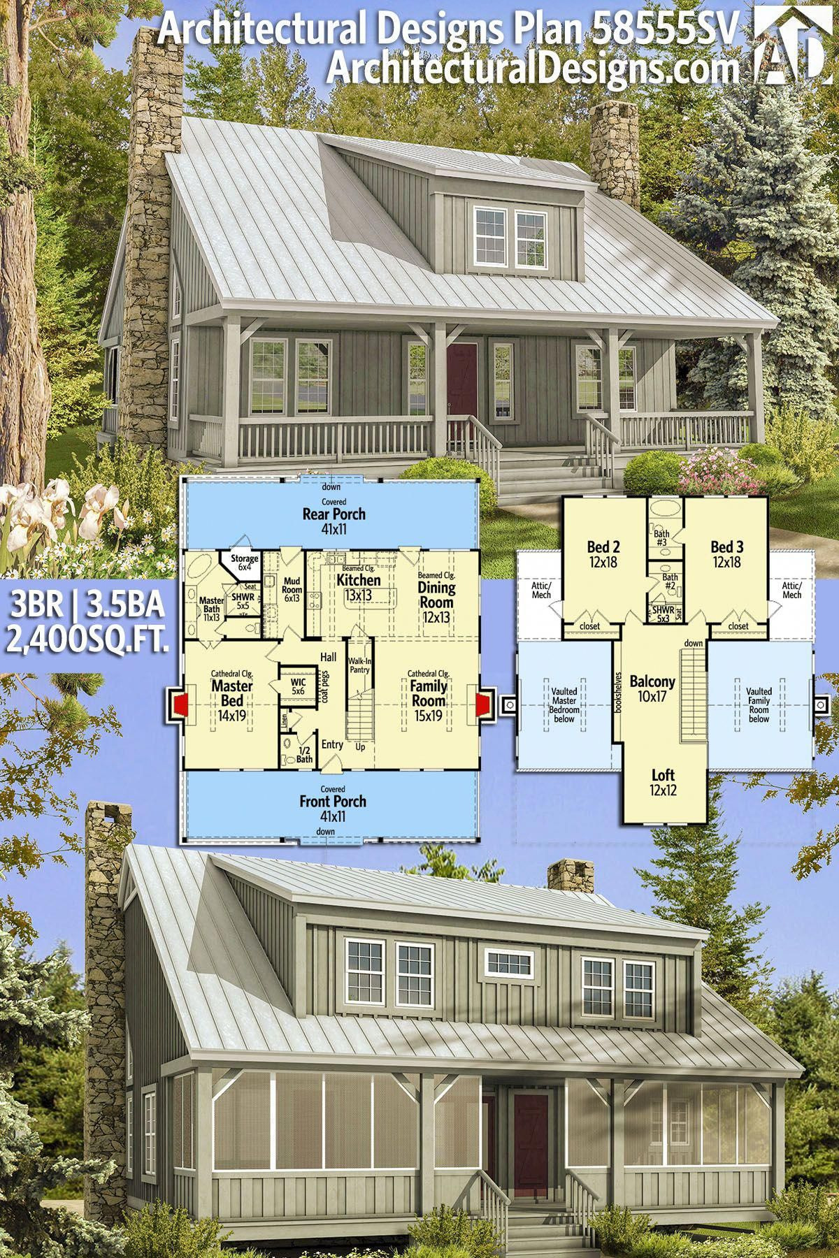 Country House Plans with Porch Unique Plan Sv Big Rear and Front Porches