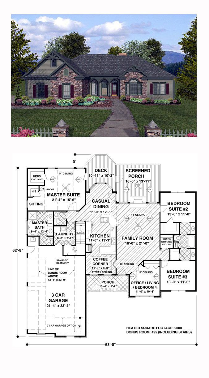Craftsman Style House Plans One Story Beautiful Craftsman Style House Plan with 4 Bed 3 Bath 3 Car