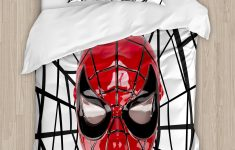 Deadpool Bed Set Inspirational Superhero Mask With Spider Eyes And Web Print Fun Kids Cartoon Character Image Duvet Cover Set