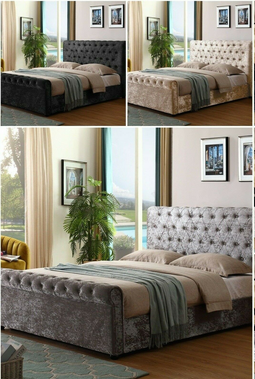 Fabric Sleigh Bed Elegant Crushed Velvet Sleigh Chesterfield Diamante Tufted Ottoman Gas Lift Storage Bed