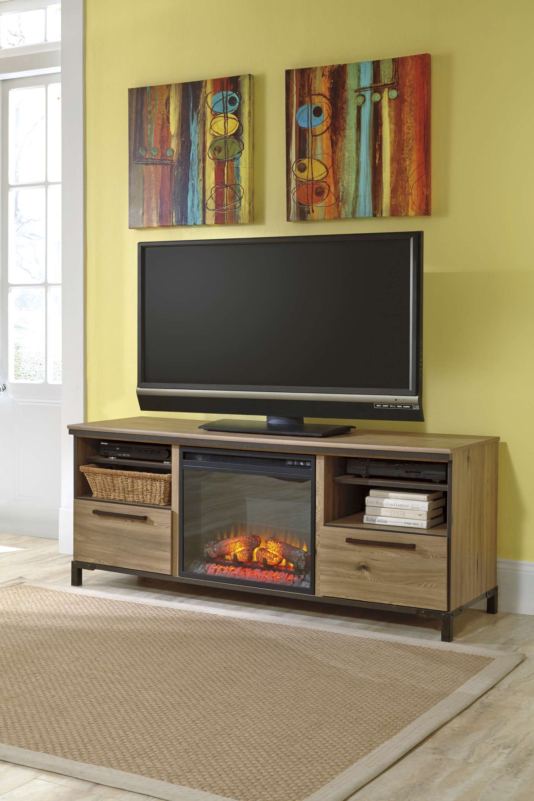 oak costco tv stands with beige sisal rugs on parkay floor plus tryptic art and costco cake stand also costco television stands
