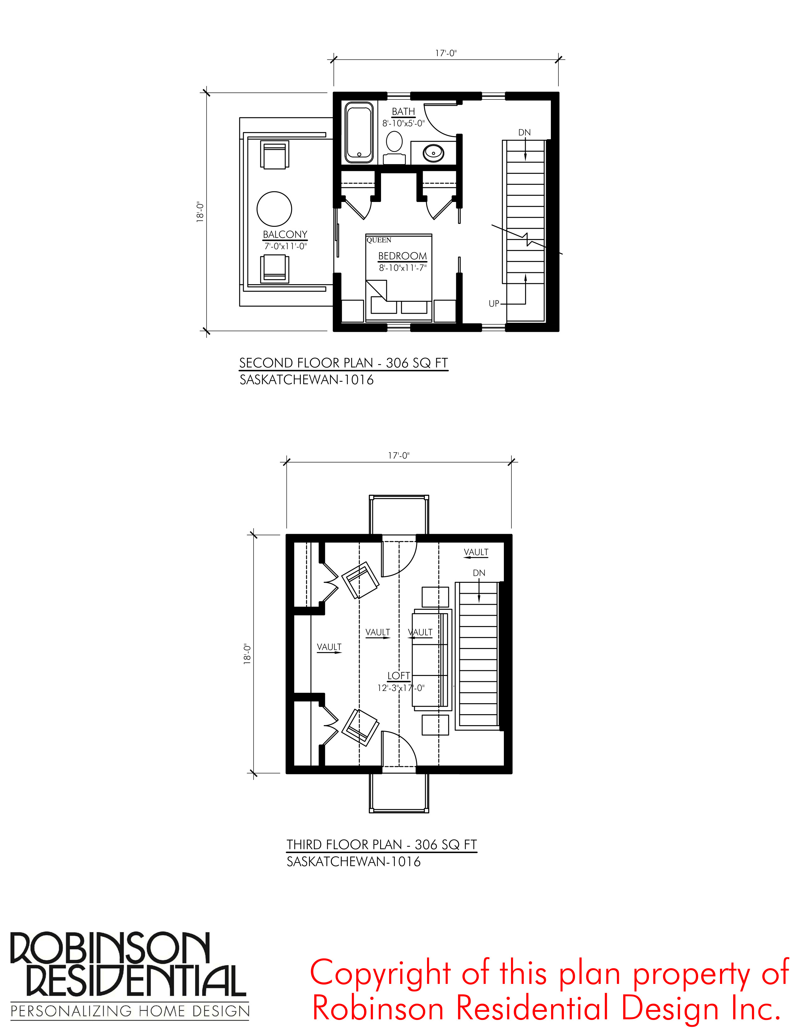 SMALL HOME PLANS SASKATCHEWAN 1016 02 SECOND THIRD FLOOR PLAN