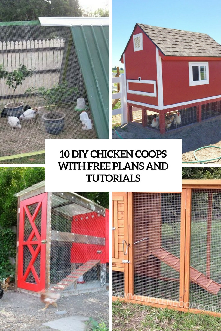 10 diy chicken coops with free plans and tutorials cover