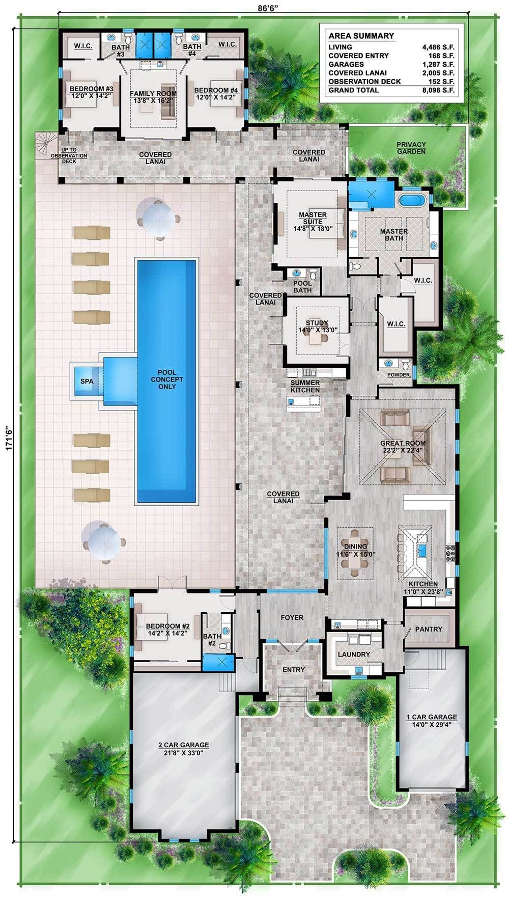 Garage with Guest House Plans Awesome Plan Bw Florida House Plan with Guest Wing