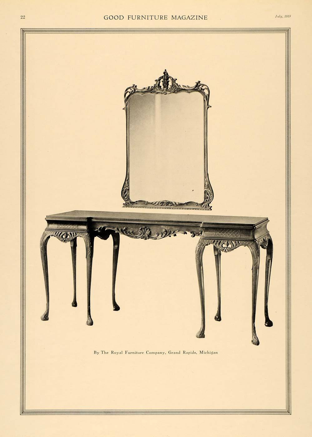 1919 ad royal furniture home decor carved woodwork table mirror grand rapids gf1 253