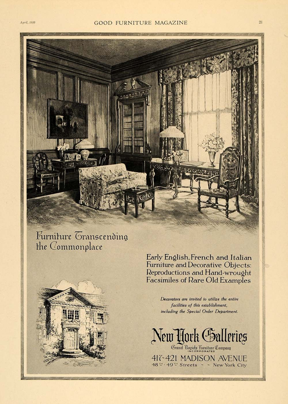 Grand Rapids Furniture Company Antique New A 1920 Advertisement by New York Galleries A Grand Rapids