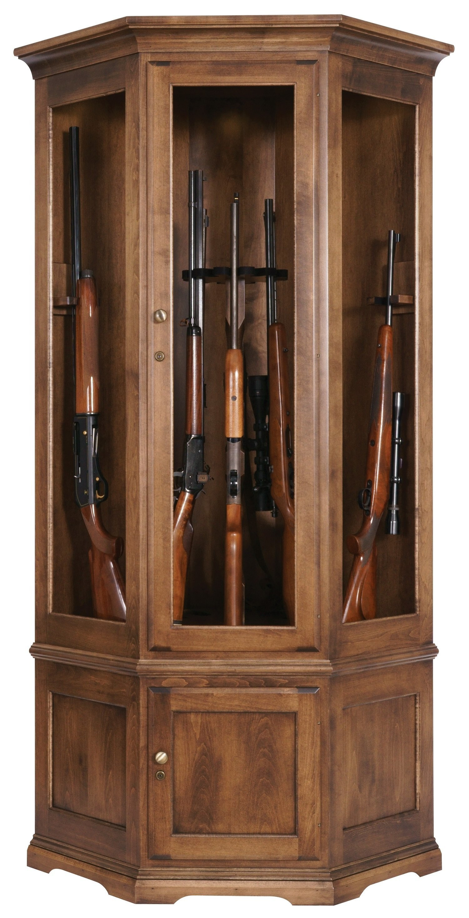 pid Traditional American Made Corner Gun Cabinet with Carousel 490