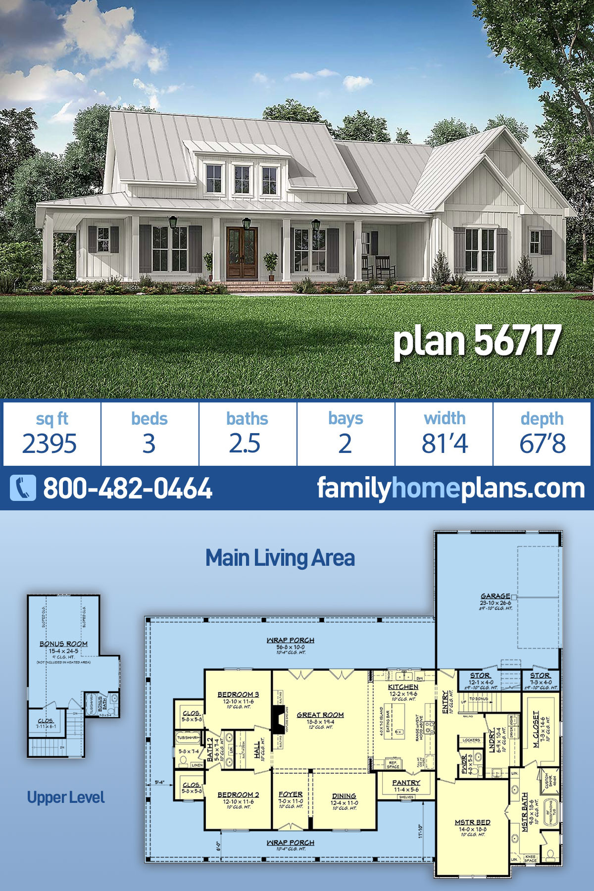 House Plan Books Online New Farmhouse Style House Plan with 3 Bed 3 Bath 2 Car Garage