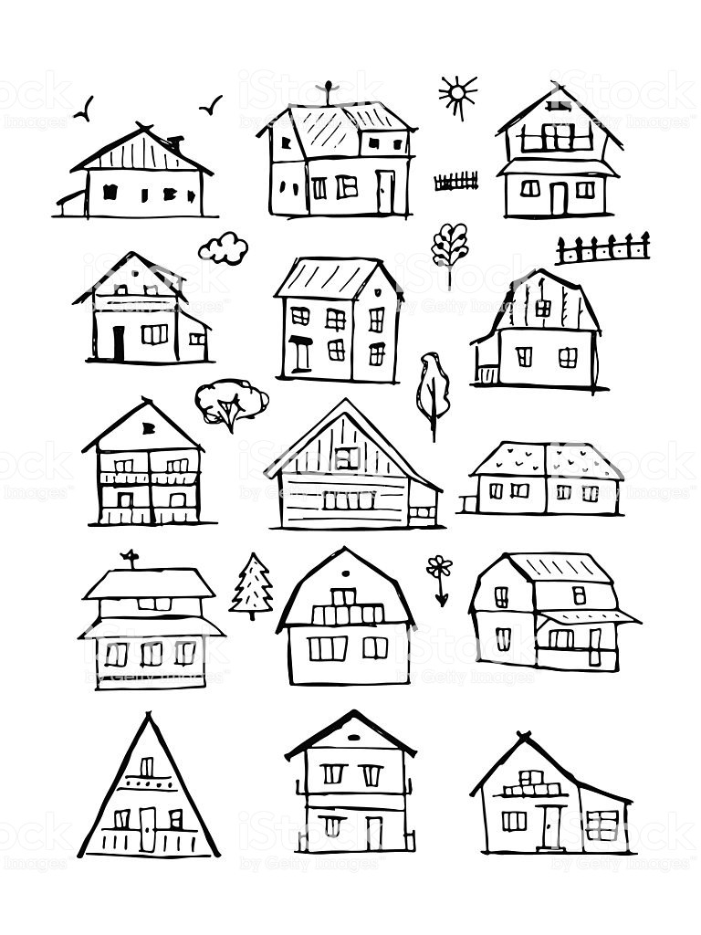 House Plan Collection Free Download Luxury Art Houses Collection Sketch for Your Design Stock