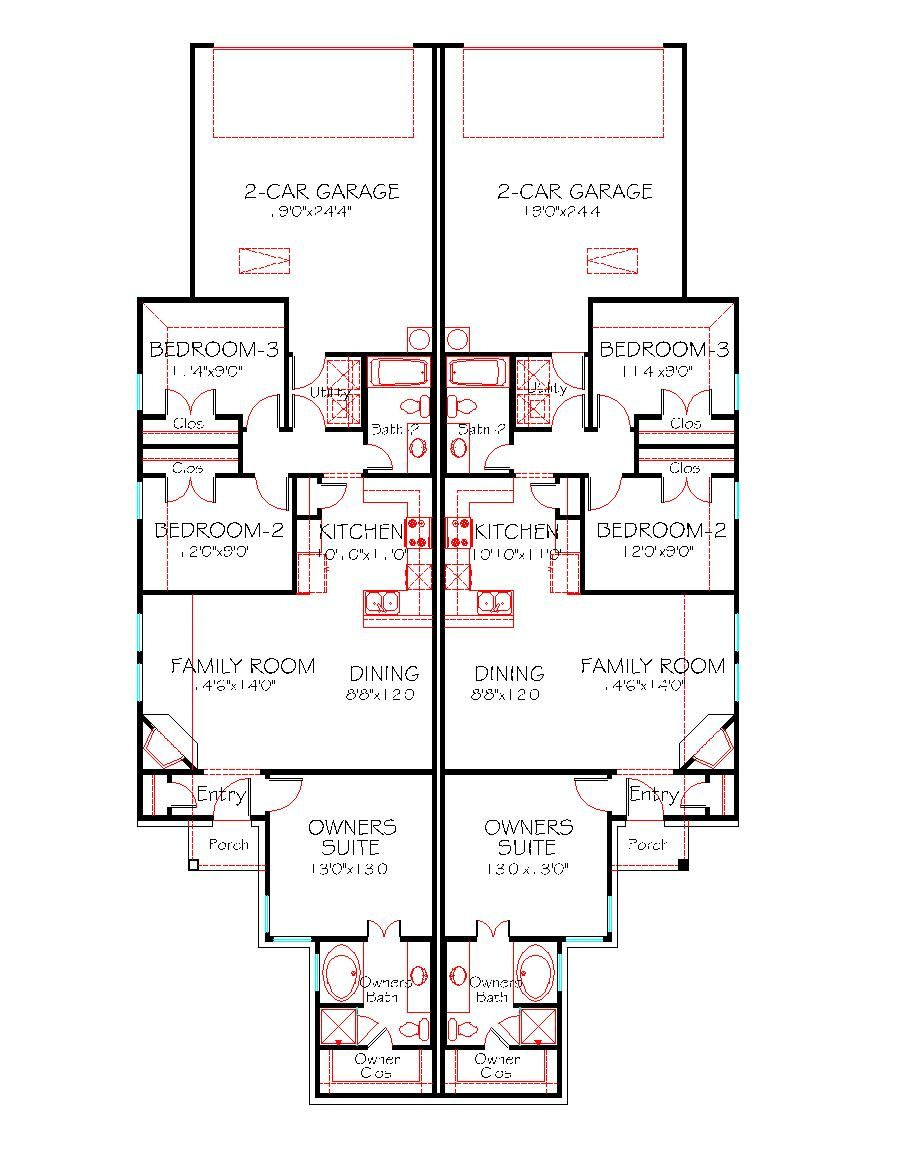 House Plans for Duplexes with Garage Best Of Plan 1228 Duplex 130