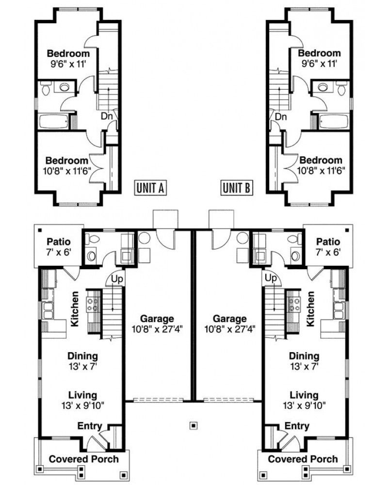 House Plans for Duplexes with Garage Inspirational Two Story Duplex with Garage
