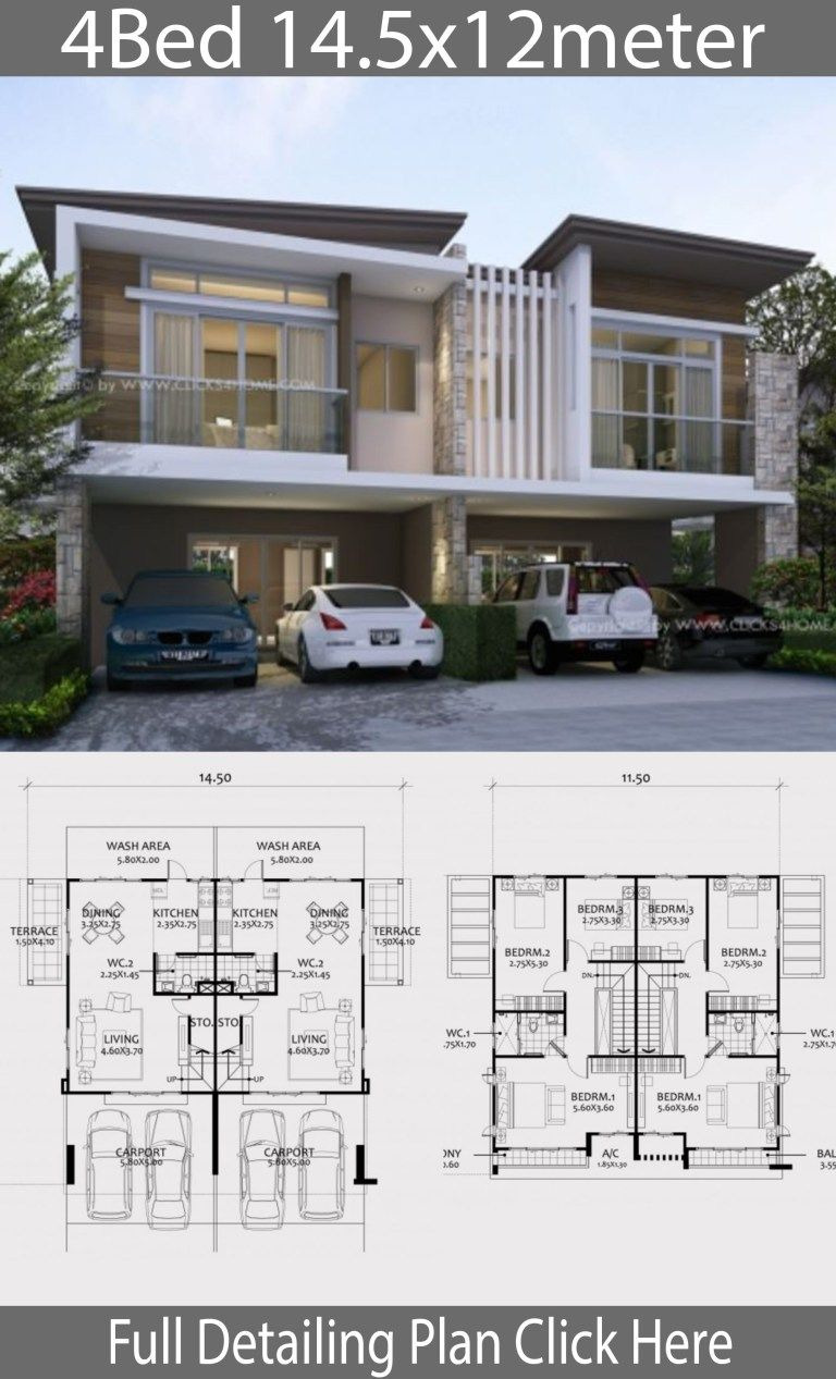 House Plans for Duplexes with Garage Lovely Twin House Design Plan 14 5x12m with 6 Bedrooms