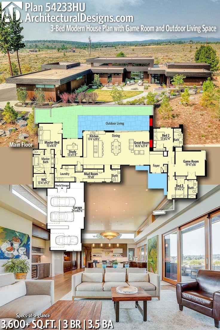 House Plans for Outdoor Living Luxury Plan Hu 3 Bed Modern House Plan with Game Room and