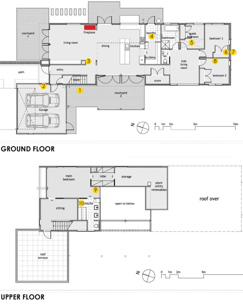 Position of sensors yellow shown on Floor Plans of House A Position of fireplace fig1