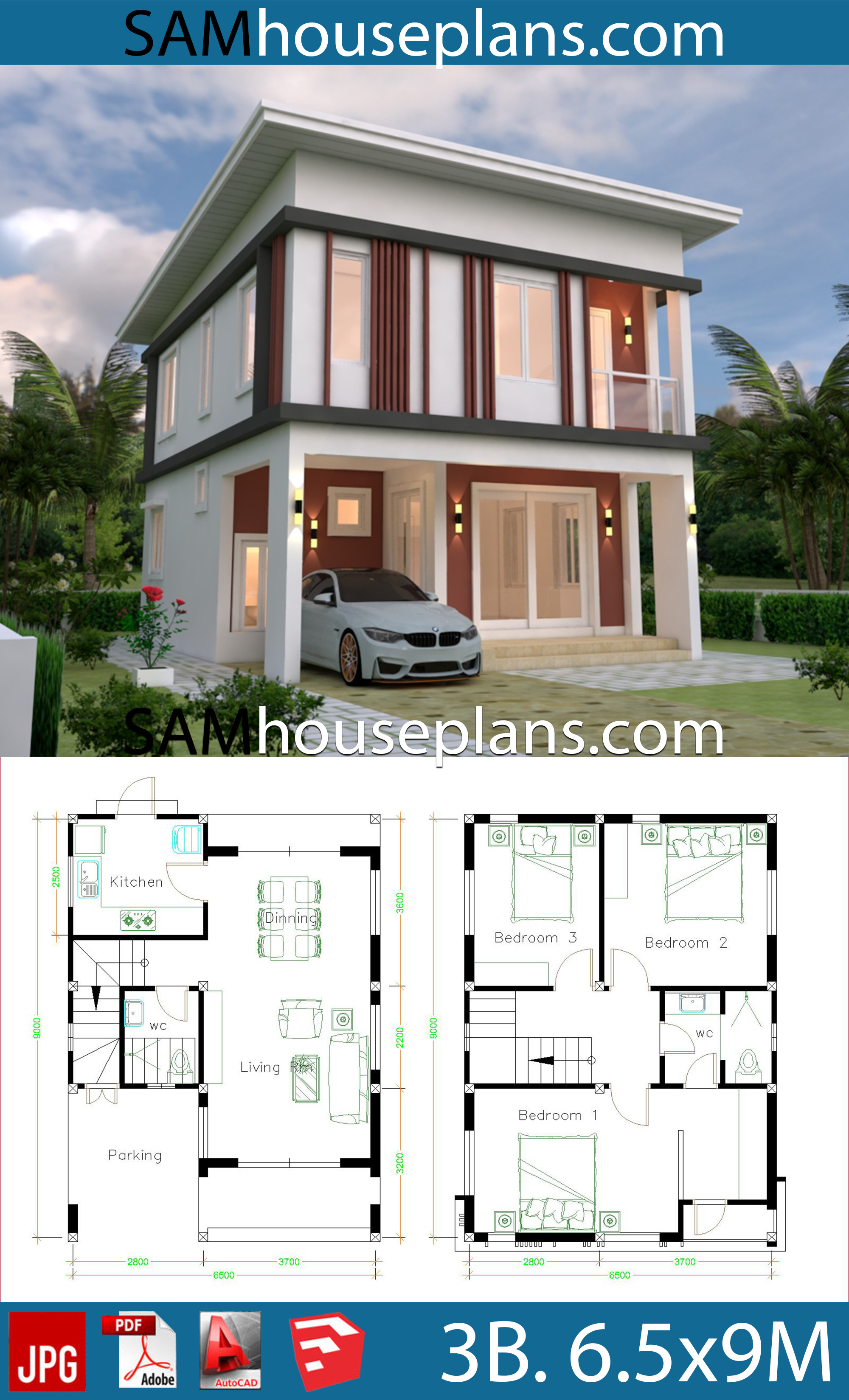 house plans 6 6x9 with 3 bedrooms flat roof