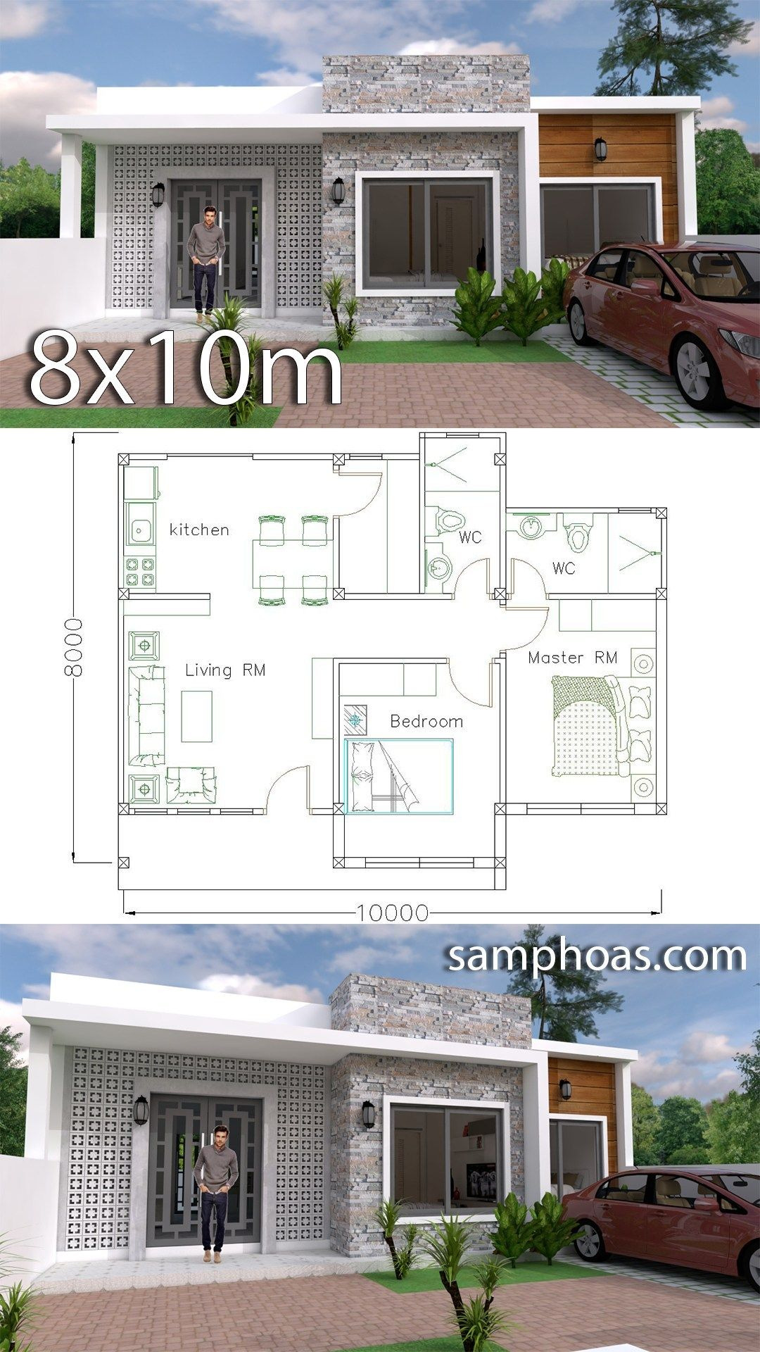House Plans with Simple Roof Designs Lovely Simple Home Design Plan 10x8m with 2 Bedrooms