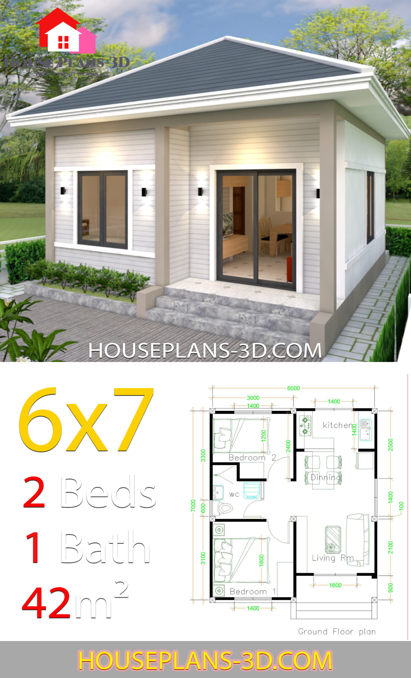 Simple House Plans 6x7 with 2 bedrooms Hip Roof V10 scaled