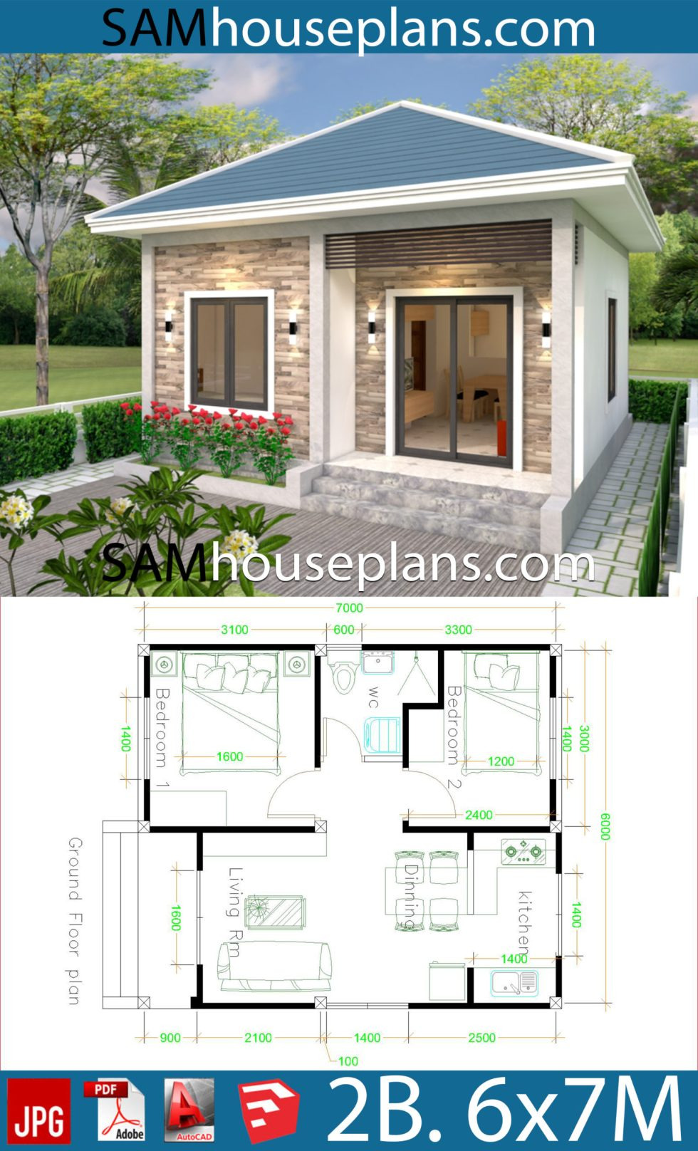 House Plans with Simple Roof Designs Unique Simple House Design 6x7 with 2 Bedrooms Hip Roof