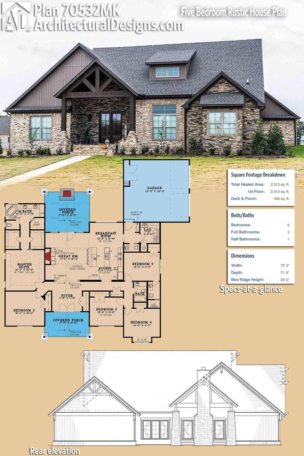 How to Draw My Own House Plans Lovely Plan Mk Five Bedroom Rustic House Plan In 2020