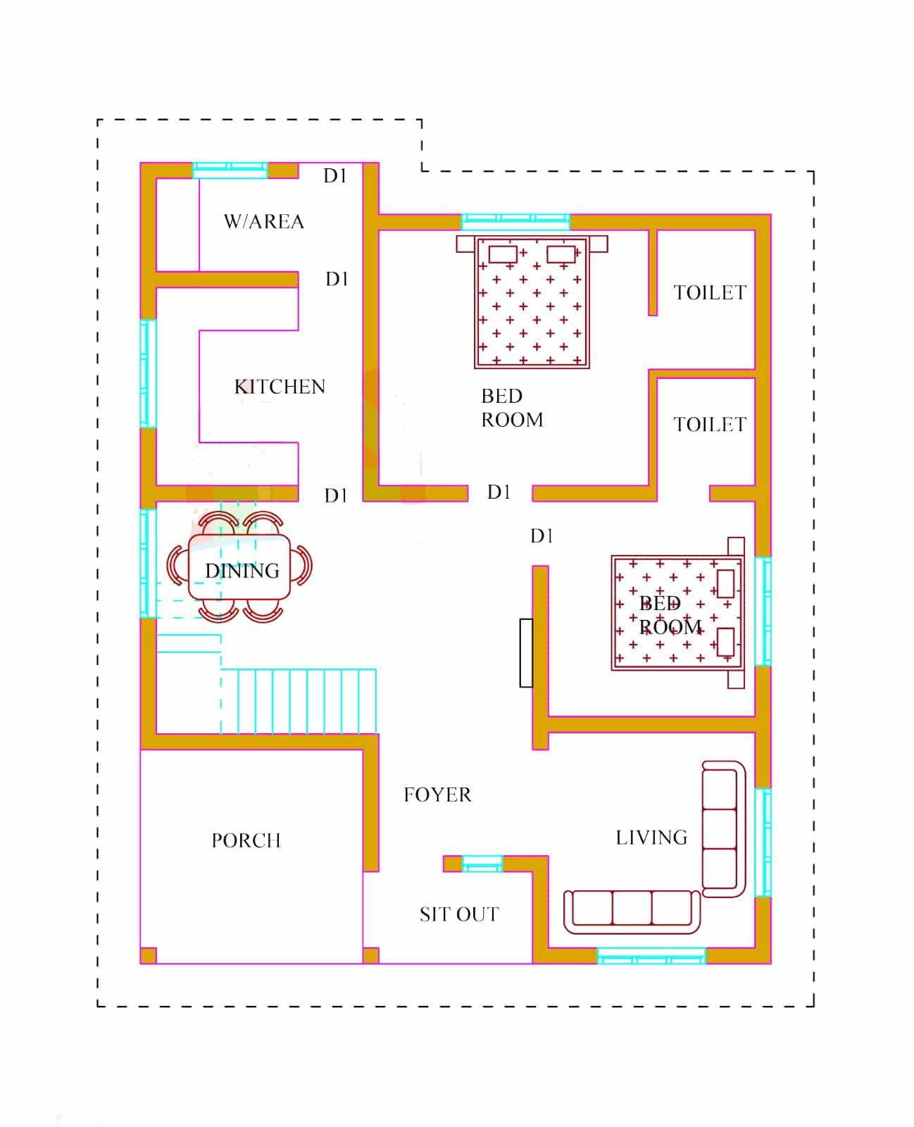 Low Cost House Plans with Estimate Lovely Kerala House Plans with Estimate 20 Lakhs – 1500 Sq Ft