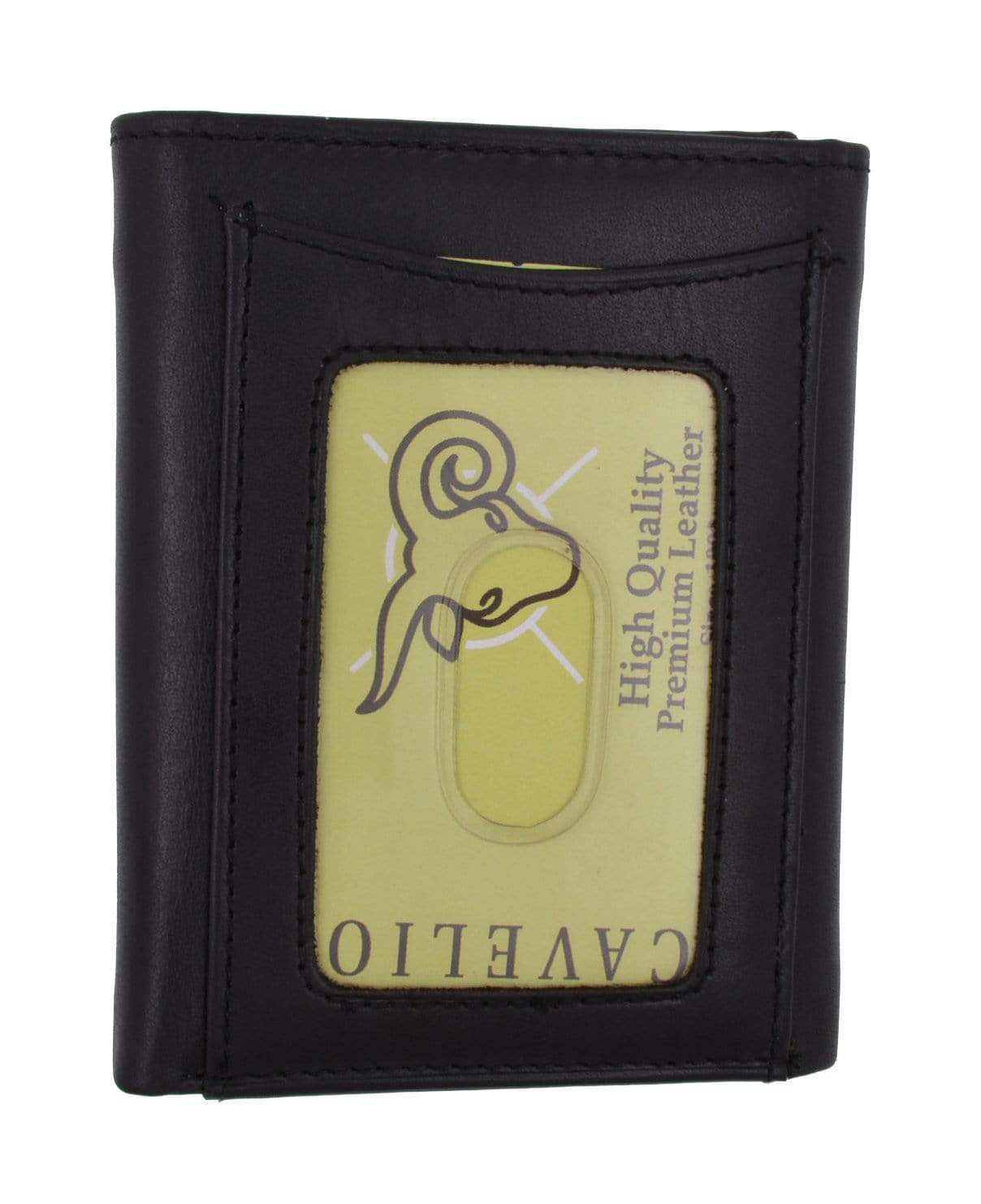 mens high quality genuine leather card holder trifold wallet with outside id window by cavelio c