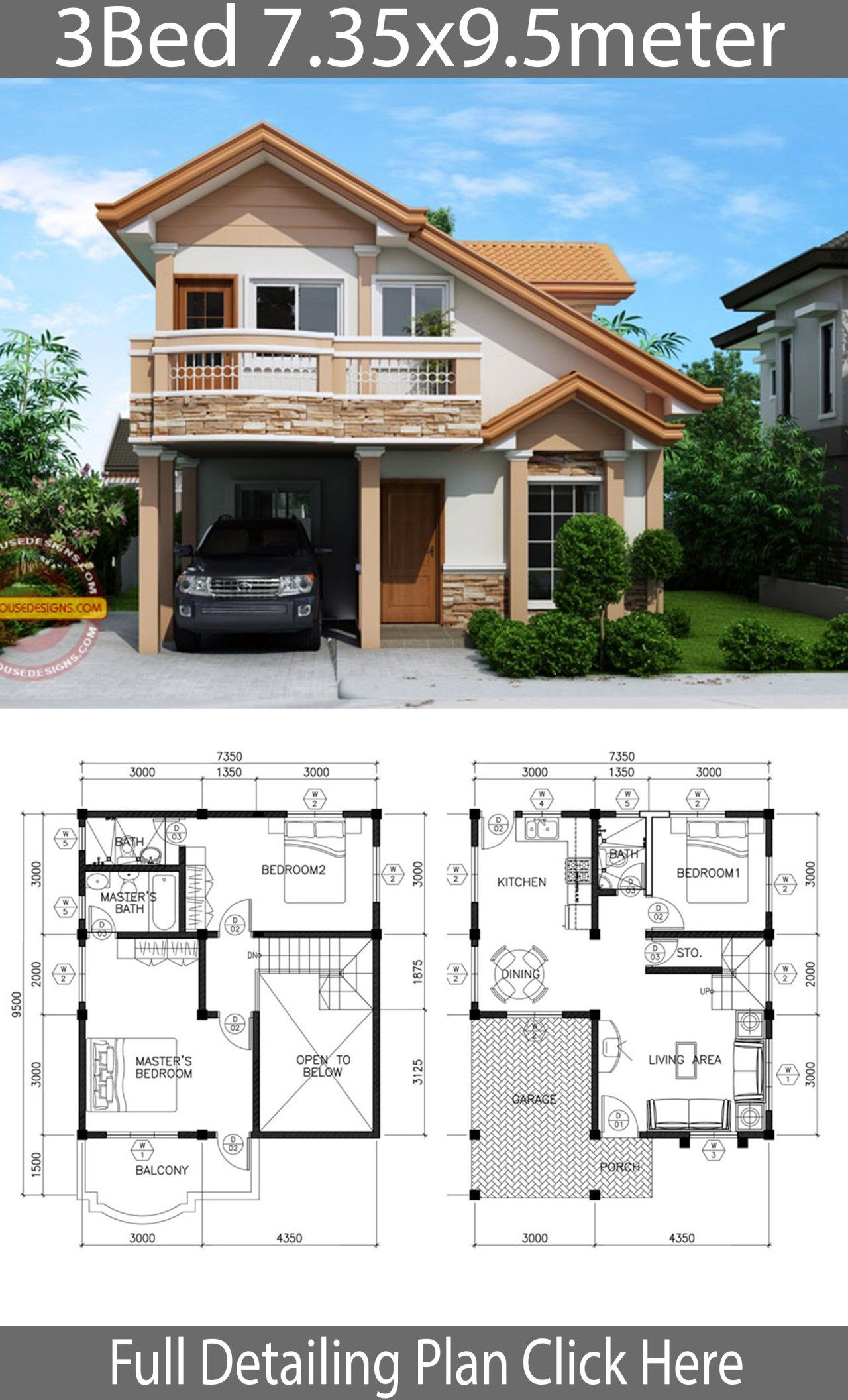 Modern Contemporary House Plans for Sale Unique Home Design Plan 7 35x9 5m with 3 Bedrooms