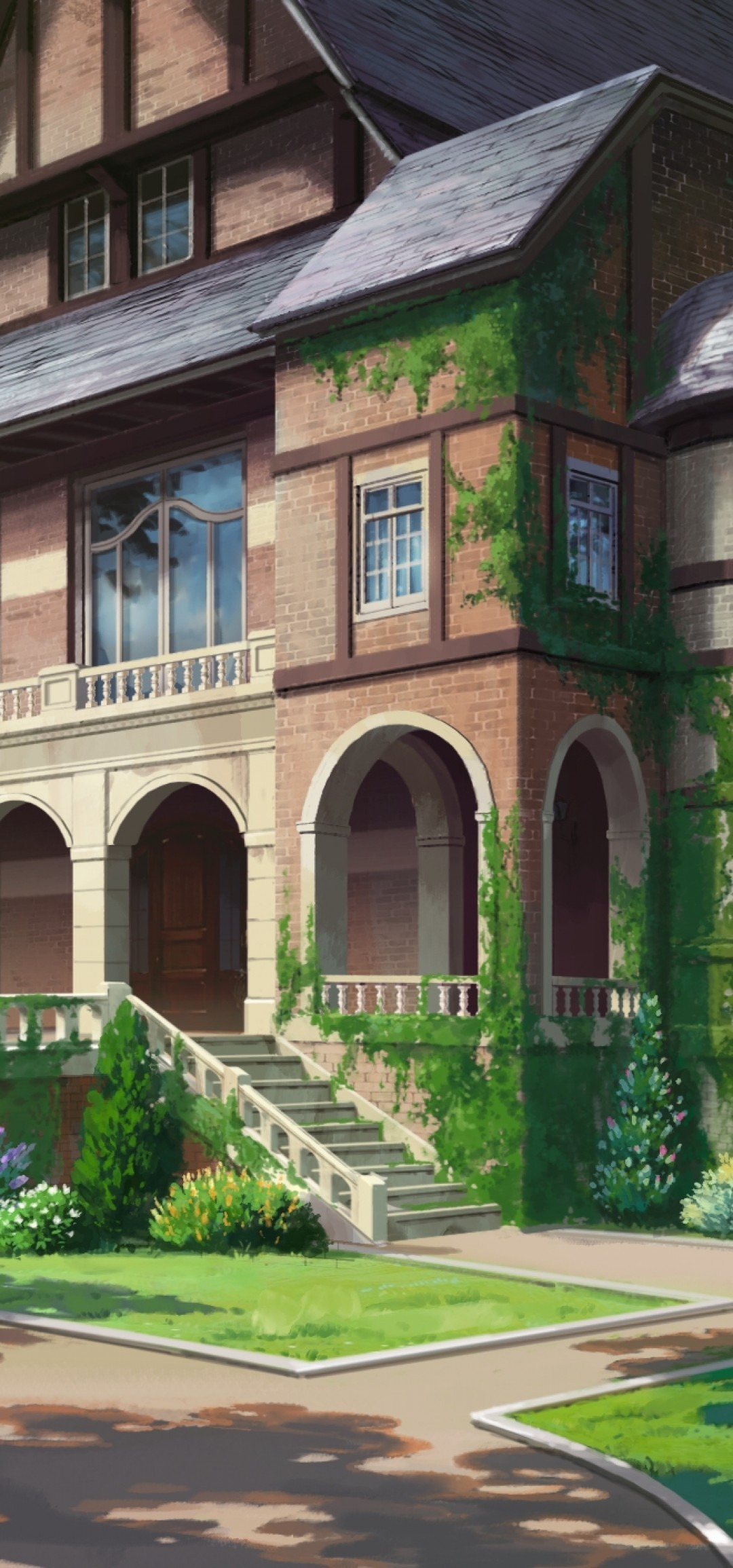Moss Building & Design Beautiful Download 1080x2310 Anime Building Scenic forest Foliage