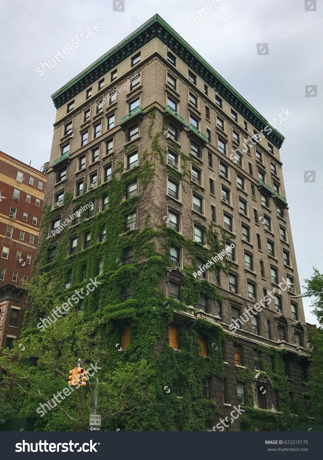 stock photo building covered with fern and moss on new york upper west side