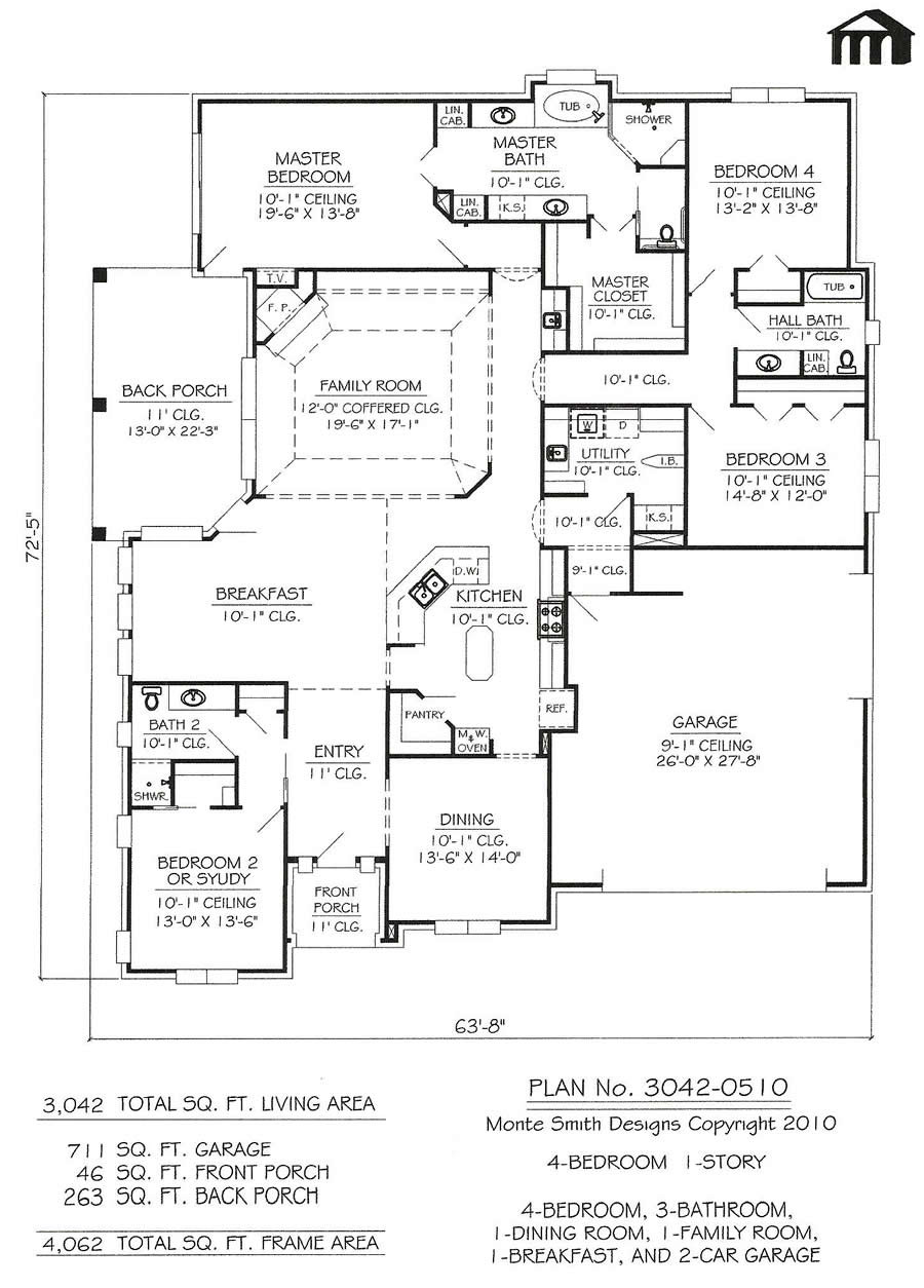 3042 0510 4 Room Home house Plans