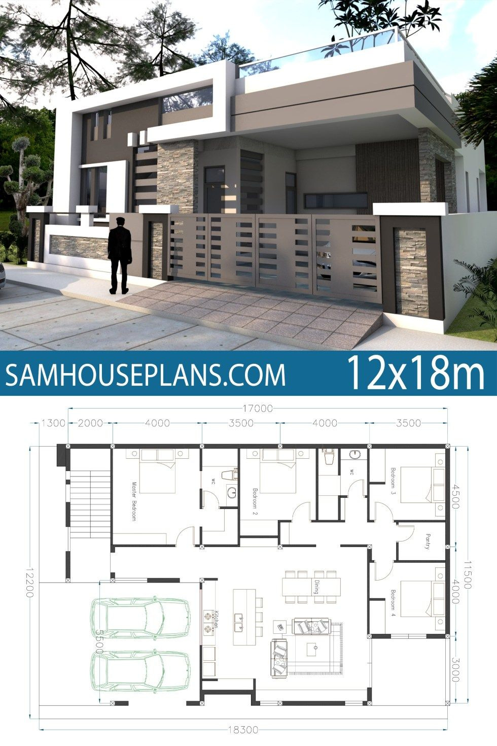 One Story Contemporary Home Plans Unique Home Design 40x60f with 4 Bedrooms