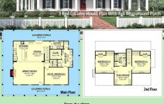 One Story House Plans With Porches New Plan Hz 3 Bed Country House Plan With Full Wraparound