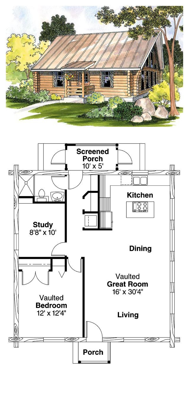 One Story Log House Plans Lovely Ranch Style House Plan with 1 Bed 1 Bath