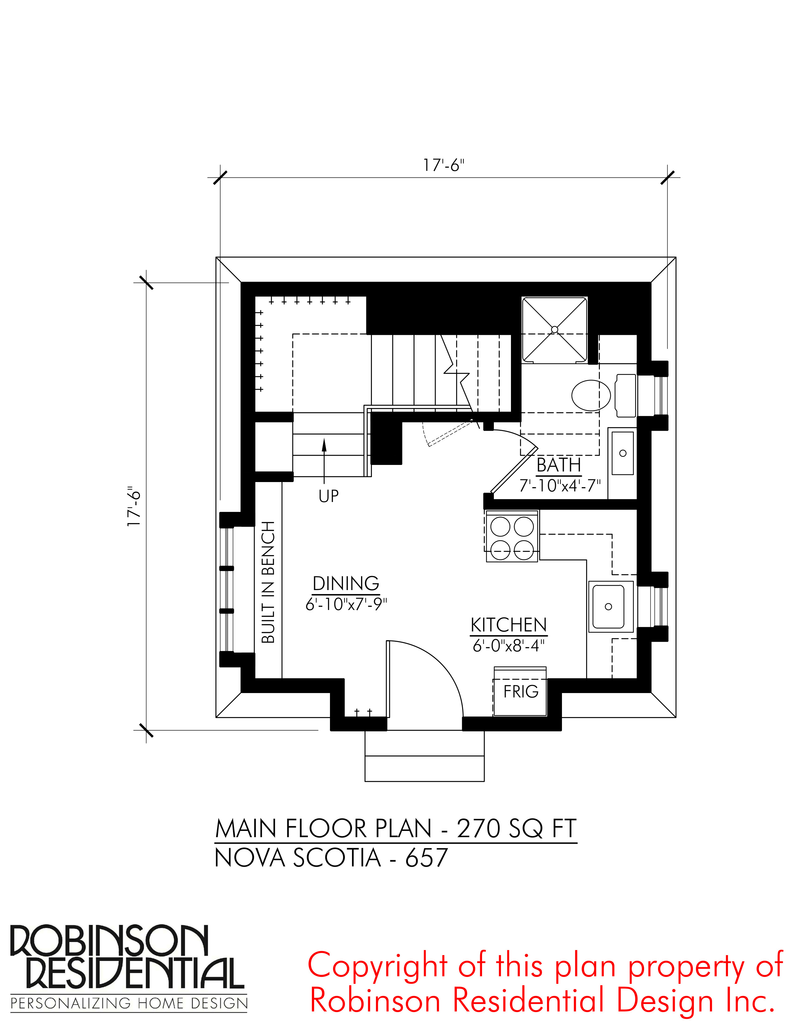 SMALL HOME PLANS NOVA SCOTIA 657 01 MAIN FLOOR PLAN