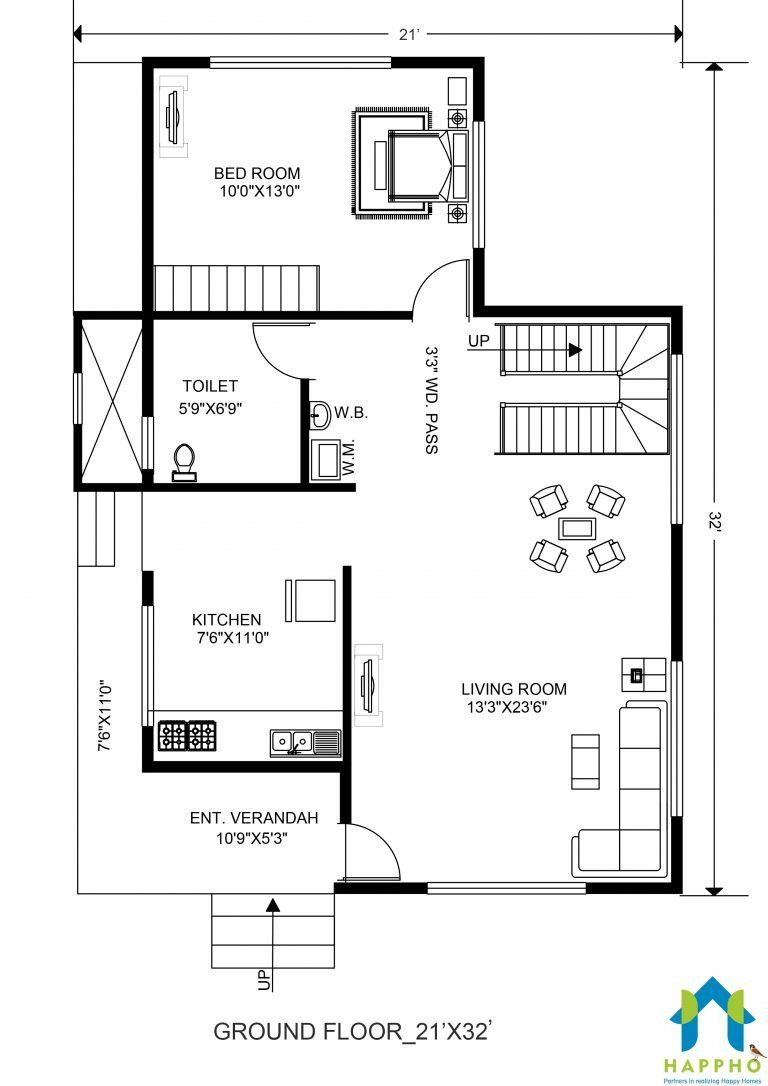Plans to Build A House Best Of 2 Bhk Floor Plan for 21 X 32 Feet Plot 672 Square Feet 2