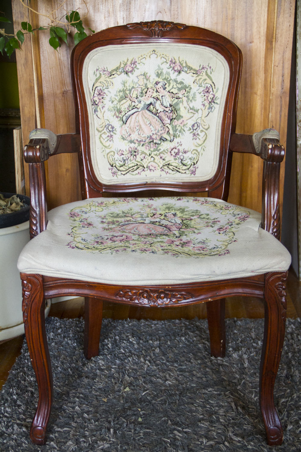Queen Anne Furniture Antique Beautiful Antique Queen Anne Chair with Embroidered Cushions — Real Good Goods Co