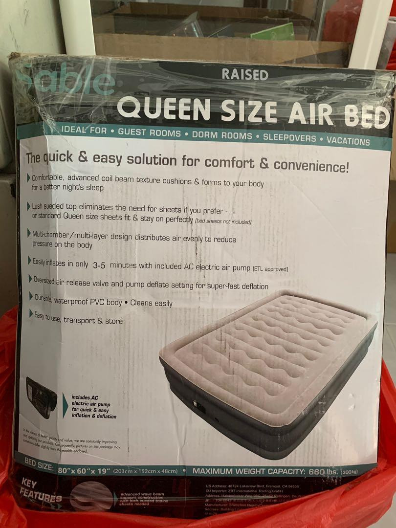 Quest Raised Queen Air Mattress with Electric Pump Luxury Sable Inflatable Air Bed Queen Negotiable Furniture Beds