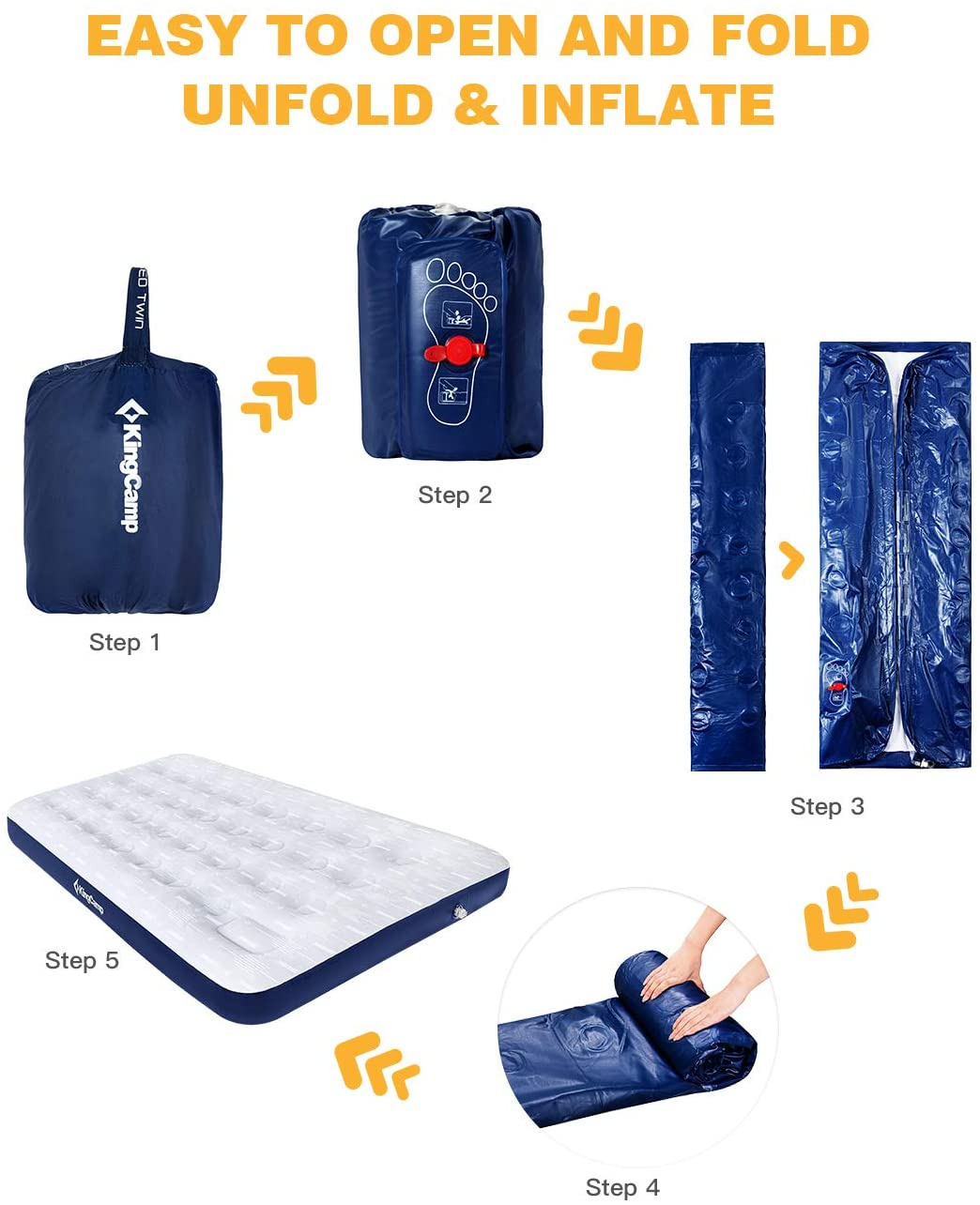 Quest Raised Queen Air Mattress with Electric Pump New Kingcamp Camping Air Mattress with Built In Foot Pump Single Double fort Inflatable Camp Mat
