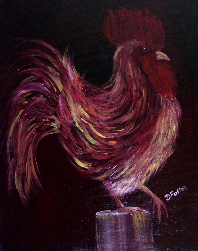 Rooster Wall Decor Kitchen Beautiful original Rooster Painting On 8 X 10 Canvas Rooster Art Home Decor Kitchen Decor Rooster Art Wall Decor Rooster Wall Hanging Gift